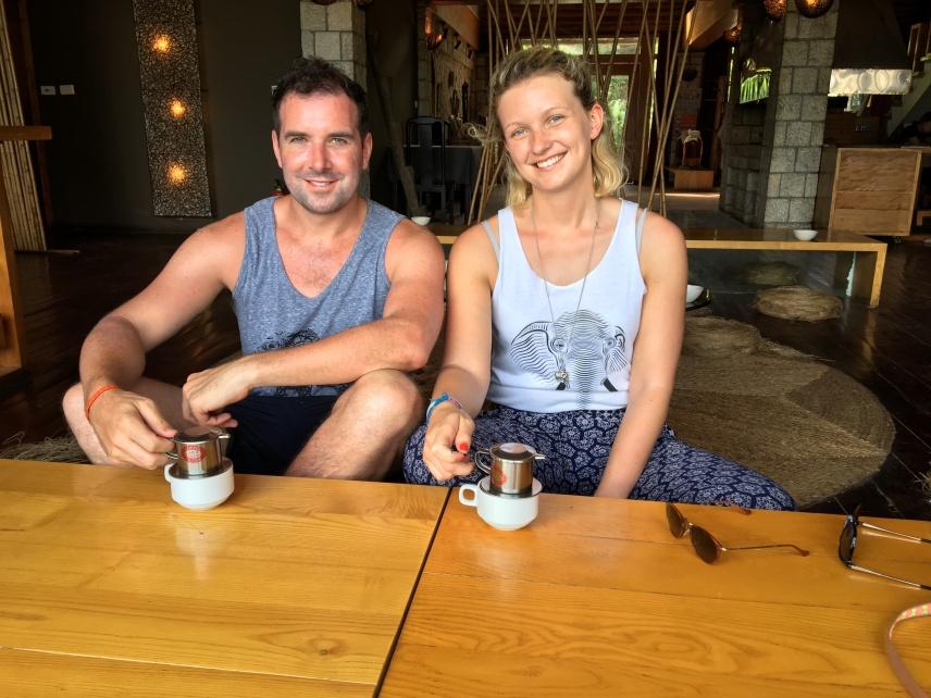 Drinking coffee in Sapa